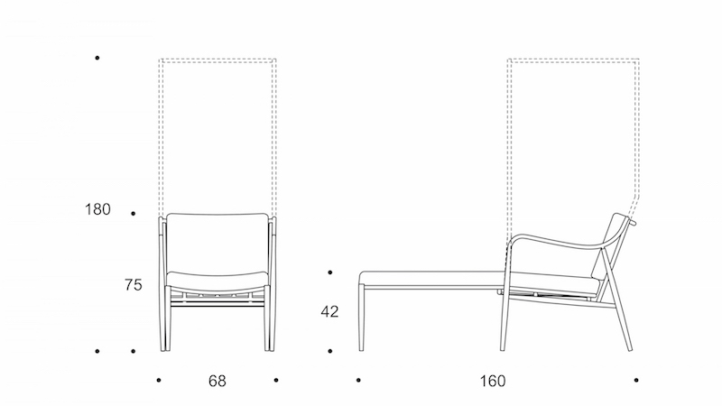 myittha chaise lounge with canopy drawing