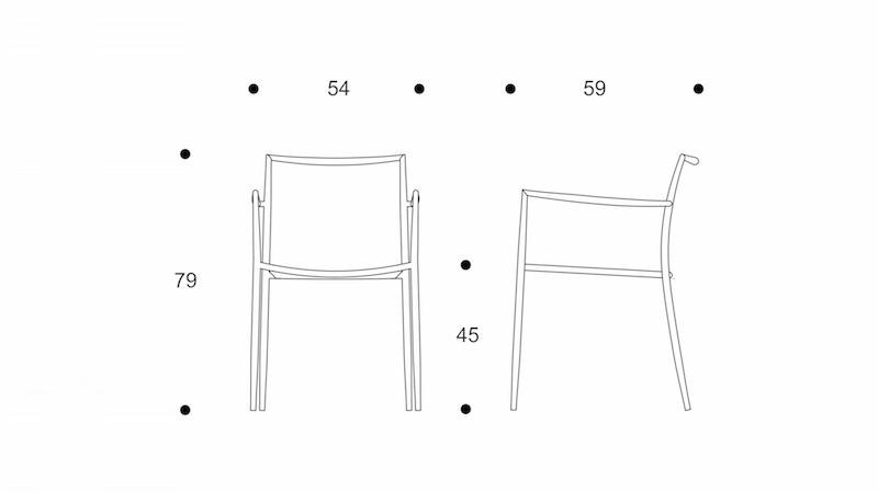 ryo  dining chair   interlacing seat drawing