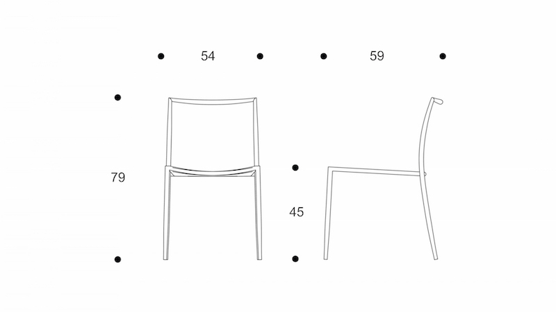 ryo  dining chair   interlacing seat  without arm  drawing