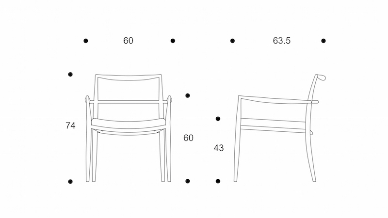 ryo  low dining chair   upholstery seat drawing