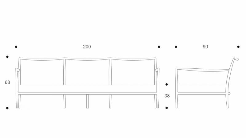 ryo  sofa 3 seater sofa drawing